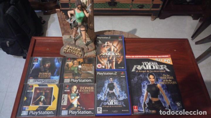 LOTE TOMB RAIDER ,PS1 VINILADA ,JUEGOS PS1 ,PS2 ,GUIA Y FIGURA LARA CROFT (Juguetes - Videojuegos y Consolas - Sony - PS1)