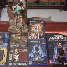 Videojuegos y Consolas: LOTE TOMB RAIDER ,PS1 VINILADA ,JUEGOS PS1 ,PS2 ,GUIA Y FIGURA LARA CROFT. Lote 171251259