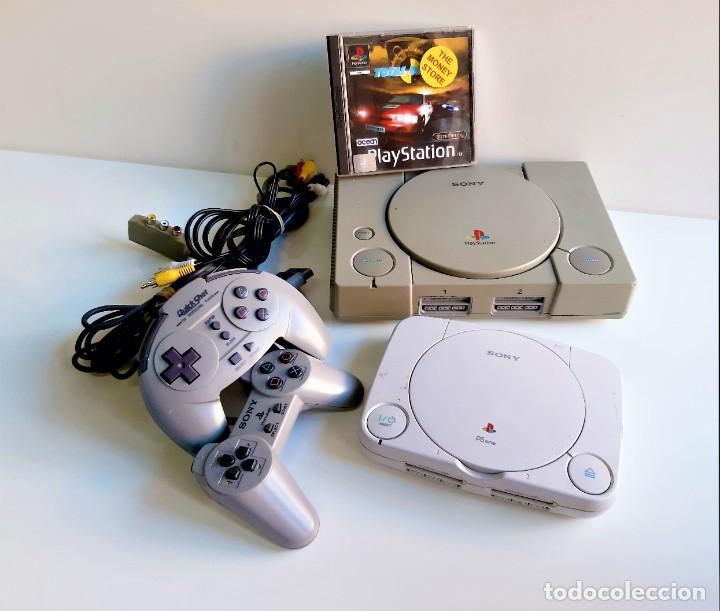 DOS CONSOLAS PS1 + PS ONE + JUEGO + 2 MANDOS + CONECTORES VARIOS (Juguetes - Videojuegos y Consolas - Sony - PS1)