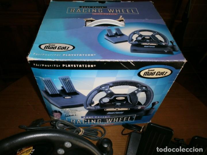 Videojuegos y Consolas: MAD CATZ DUAL FORCE RACING WHEEL FOR PLAYSTATION + REALPLAY RACING PARA PLAYSTATION 2 - 1998. - Foto 6 - 192860385