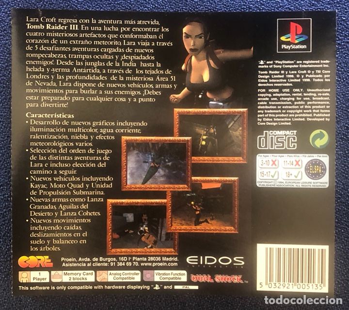 Videojuegos y Consolas: Tomb Raider III Adventures of Lara Croft PS1 PSONE Playstation - Foto 2 - 195373305