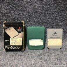 Videojuegos y Consolas: MEMORY CARD OFICIAL 1MB GRIS+FUNDA PLASTICO+CAJA SONY PLAYSTATION PS1. Lote 210961605