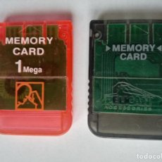 Videojuegos y Consolas: PS1 LOTE 2 MEMORY CARD MEMORY CARD PELICAN ACCESSORIES Y OTRA ROJA 1 MEGA - EN BUEN ESTADO. Lote 253745075