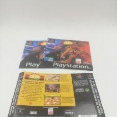 Videojuegos y Consolas: EL REY LEON LAS AVENTURAS DEL PODEROSO SIMBA MANUAL Y CARATULAS PS1. Lote 277527378