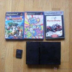 Videojuegos y Consolas: CONSOLA SLIM PLAYSTATION 2, MANDO, TARJETA MEMORIA, CABLES Y 3 JUEGOS LEER. Lote 51625086