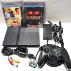 Videojuegos y Consolas: PLAYSTATION 2 SLIM + CABLEADO + MANDO + MEMORY CARD + 2 JUEGOS. Lote 157421258