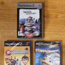 Videojuegos y Consolas: LOTE 5 JUEGOS PS2 NUEVOS. SHREK TERCERO. ROBINSONS. ESPANTATIBURONES. MONSTER HOUSE. BRATZ DIAMONDZ. Lote 200025781