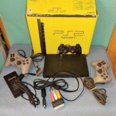 Videojuegos y Consolas: CONSOLA PS2 PLAY STATION SLIM COMPLETA CON CAJA FUNCIONA CORRECTAMENTE TODO ORIGINAL AÑO 2005. Lote 242349715