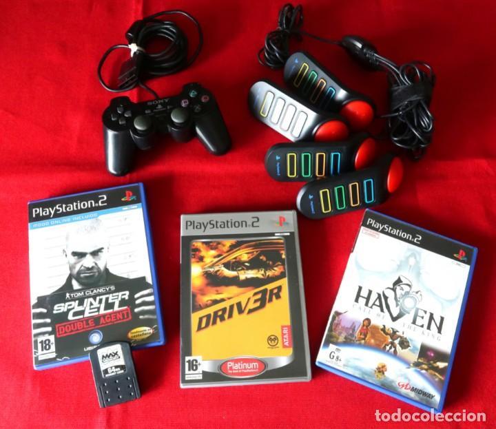 MANDO, JUEGOS, BUZZER Y TARJETA DE MEMORIA PLAYSTATION 2 (Juguetes - Videojuegos y Consolas - Sony - PS2)