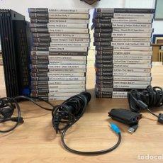 Videojuegos y Consolas: LOTE PS2 + 42 JUEGOS + MANDO + MICRO + CABLE DE CORRIENTE Y DE MICRO. Lote 296956878