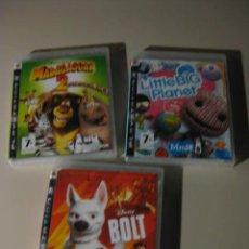 Videojuegos y Consolas: TRES JUEGOS **DISNEY BOLT / LITTLE BIG PLANET / MADAGASCAR 2 **. Lote 52330531