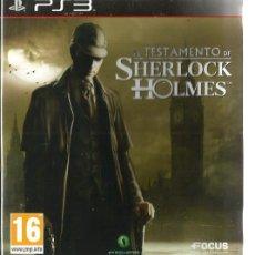 Videojuegos y Consolas: EL TESTAMENTO DE SHERLOCK HOLMES ( PS3 PLAYSTATION 3 ), NUEVO, EN ESPAÑOL, CON MANUAL. Lote 57553687