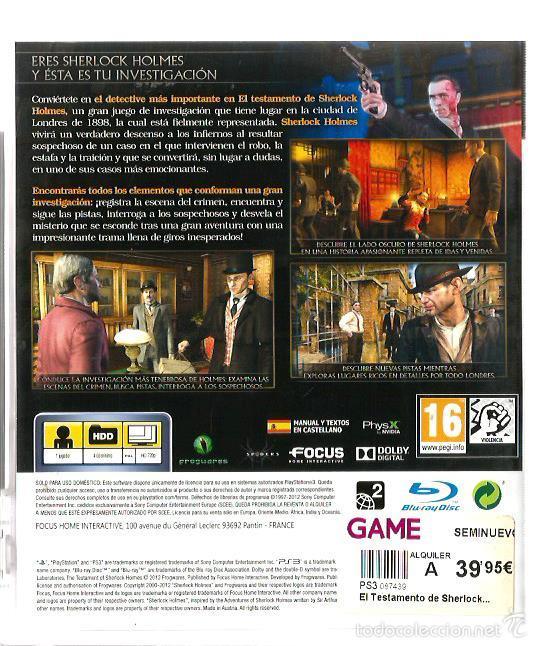 Videojuegos y Consolas: EL TESTAMENTO DE SHERLOCK HOLMES ( PS3 PLAYSTATION 3 ), NUEVO, EN ESPAÑOL, CON MANUAL - Foto 2 - 57553687