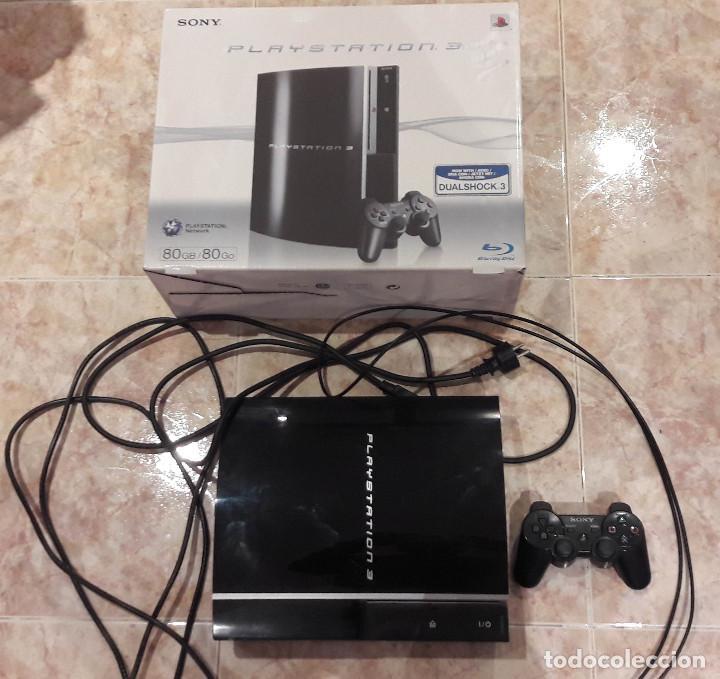 CONSOLA PLAYSTATION 3 FAT 80 GB LECTOR DE DISCOS ROTO CON CAJA Y MANDO DUAL SHOCK 3 (Juguetes - Videojuegos y Consolas - Sony - PS3)