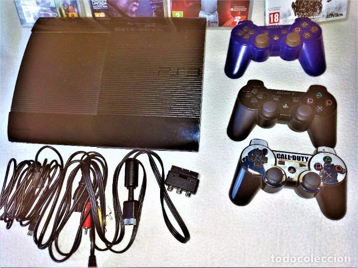 Videojuegos y Consolas: CONSOLA PS3 SLIM + 2 Mandos + 5 Juegos + Caja + Soporte + Cables + Manuales + - Foto 2 - 189689963