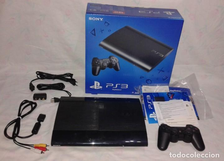 Videojuegos y Consolas: CONSOLA PS3 SLIM + 2 Mandos + 5 Juegos + Caja + Soporte + Cables + Manuales + - Foto 7 - 189689963