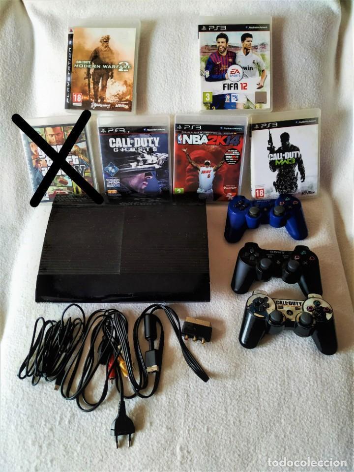 CONSOLA PS3 SLIM + 2 MANDOS + 5 JUEGOS + CAJA + SOPORTE + CABLES + MANUALES + (Juguetes - Videojuegos y Consolas - Sony - PS3)