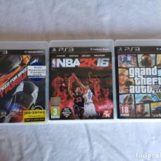 Videojuegos y Consolas: PLAYSTATION PS3 NBA 2K 16 - GRAND THEFT AUTO V - NEED FOR SPEED HOT PURSUR. Lote 214927302