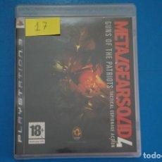 Videojuegos y Consolas: VIDEOJUEGO DE PLAYSTATION 3 PS3 METAL GEAR SOLID 4 GUNS OF THE PATRIOTS AÑO 2008 Nº 17. Lote 263693195