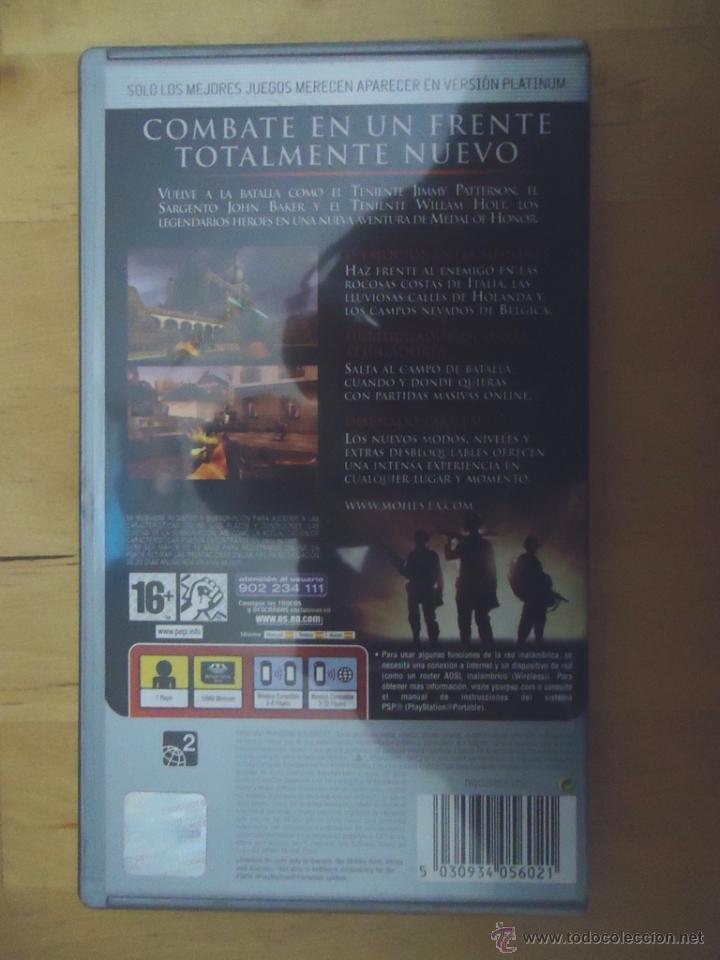 Videojuegos y Consolas: JUEGO SONY PSP PORTABLE MEDAL OF HONOR HEROES PLATINUM ELECTRONIC ARTS EA 2006 SUBJETIVO - Foto 2 - 54482069