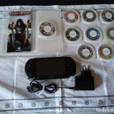 Videojuegos y Consolas: 8-LOTE CONSOLA SONY PSP E-1004 + 9 JUEGOS. Lote 118949403