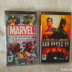 Videojuegos y Consolas: LOTE VIDEOJUEGOS CONSOLA SONY PSP MARVEL TRADING CARD GAME Y LA LIGA DE LA JUSTICIA LOS DOS PAL ESP. Lote 128441147