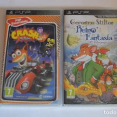 Videojuegos y Consolas: LOTE JUEGOS SONY PSP GERONIMO STILTON EN EL REINO DE LA FANTASÍA EL VIDEOJUEGO CRASH TAG TEAM RACING. Lote 196364901