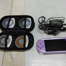 Videojuegos y Consolas: LOTE CONSOLA PSP PLAY STATION PORTATIL CON 4 JUEGOS CARGADOS Y FUNDA FUNCIONANDO. Lote 253278160