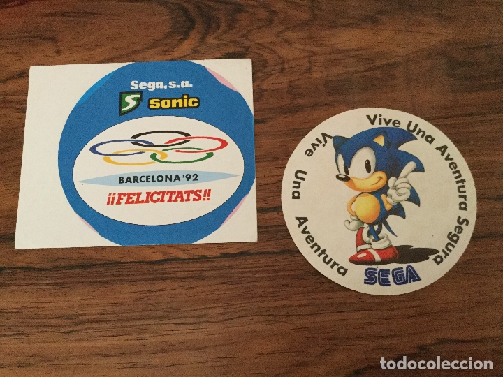 PEGATINA SEGA S.A VIVE UNA AVENTURA SEGURA SEGA SONIC BARCELONA 92 OLIMPIADAS (Juguetes - Videojuegos y Consolas - Sega - Sega 32x)