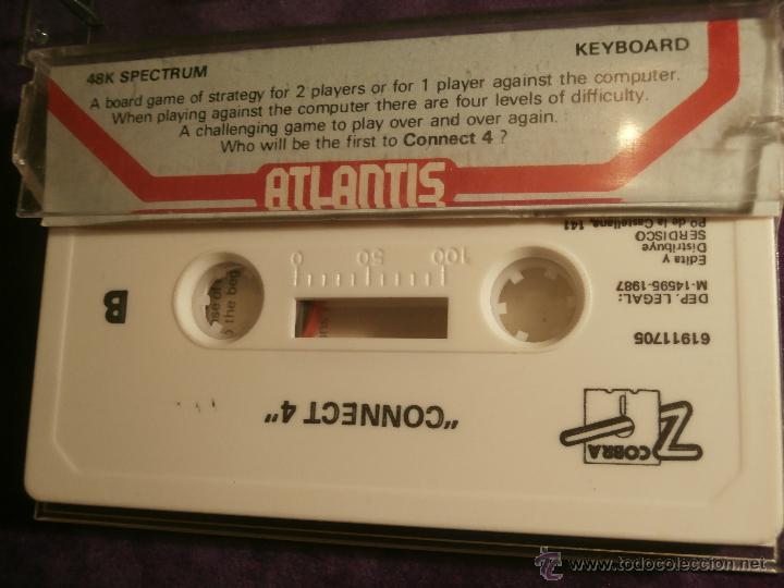 Videojuegos y Consolas: Connect 4 - Atlantis - 1987 Zafiro Sotware Division - Juego 48k Spectrum - - Foto 3 - 43386679