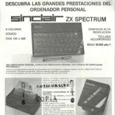 Videojuegos y Consolas: HOJA DOBLE DATOS TECNICOS,MANUAL ORDENADOR PERSONAL SINCLAIR ZX SPECTRUM. Lote 54475786