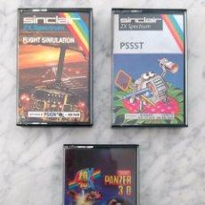 Videojuegos y Consolas: LOTE 3 VIDEOJUEGOS - SINCLAIR ZX SPECTRUM - FLIGHT SIMULATION, PSSST, PANZER 3D - 1982-1985. Lote 104595139