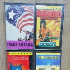 Videojuegos y Consolas: LOTE SPECTRUM: RAMBO, TRANS AMERICA, TOM Y JERRY Y EL GERENTE. Lote 174227984