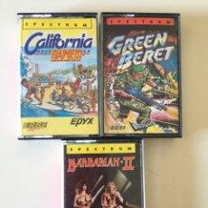 Videojuegos y Consolas: SPECTRUM- BARBARÍAN II - GREEN BERET - CALIFORNIA GAMES. Lote 178598748