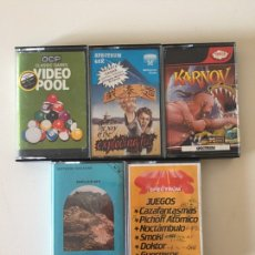 Videojuegos y Consolas: SPECTRUM- BORER DEEP - KARNOV - EXPLODING FIST - VIDEO POOL - STARS - LOTE DE 5 VIDEOJUEGOS. Lote 180460348