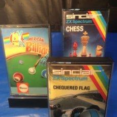 Videojuegos y Consolas: 3 !!!! CINTAS SPECTRUM ¡¡ CHEQUERED FLAG - BILLIARDS - CHESS ¡¡ (VER FOTOS). Lote 181512207