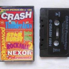 Videojuegos y Consolas: CINTA CASSETTE CRASH POWERTAPE JUEGOS COMPLETOS Y DEMOS ZX SPECTRUM. Lote 189216902