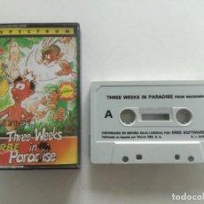 Videojuegos y Consolas: THREE WEEKS IN PARADISE - JUEGO SPECTRUM CASETE ERBRE 1986 // SINCLAIR CASSETTE. Lote 200737997