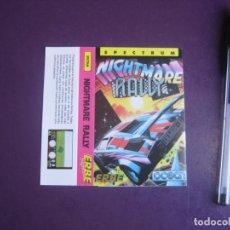 Videojuegos y Consolas: NIGHTMARE RALLY - SPECTRUM - ERBE - SOLO CARATULA - NUEVA. Lote 235479845