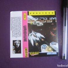 Videojuegos y Consolas: IRIDIUM - SPECTRUM - ERBE - SOLO CARATULA - NUEVA -. Lote 235481070