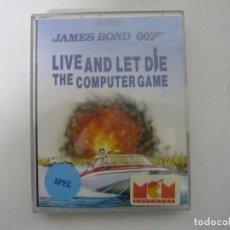 Videogiochi e Consoli: 007 JAMES BOND - LIVE AND LET DIE / SINCLAIR ZX SPECTRUM / RETRO VINTAGE / CASSETTE - CINTA. Lote 246998335