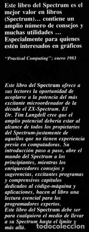Videojuegos y Consolas: SPECTRUM. ZX. MANUAL. QUE ES. PARA QUE SIRVE. COMO SE USA. TIM LANGDELL. - Foto 6 - 247601000