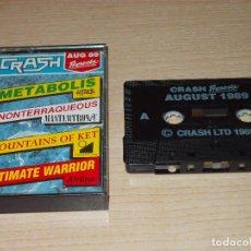 Videojuegos y Consolas: CINTA REVISTA CRASH 4 JUEGOS. AGOSTO 1989. SPECTRUM. Lote 255526575