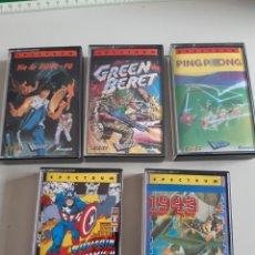 Videojuegos y Consolas: LOTE DE 5 CASETE JUEGOS SPECTRUM YIE AR KUNG FU GREEN BERET PING PONG CAPTAIN AMERICA 1943. Lote 269367133