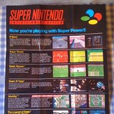 Videojuegos y Consolas: POSTER DE SUPER NINTENDO SNES NES PAL CARTUCHO VÍDEOJUEGO VÍDEO-JUEGO JUEGOS. Lote 26490493