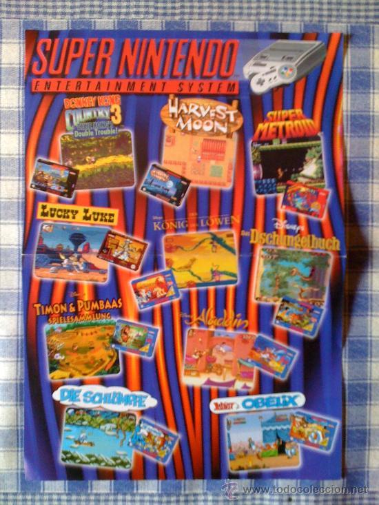 Videojuegos y Consolas: Poster Cartel Catálogo Super Nintendo SNES NES - Foto 2 - 24884864