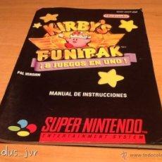 Videojuegos y Consolas: KIRBY'S FUN PAK LIBRO DE INSTRUCCIONES MANUAL USUARIO SUPER NINTENDO SNES. Lote 40698338