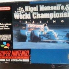 Videojuegos y Consolas: NIGEL MANSELL´S WORLD CHAMPIONSHIP-SUPERNINTENDO. Lote 47675821