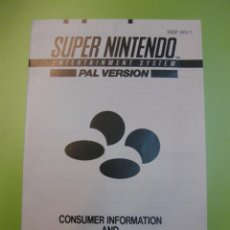 Jeux Vidéo et Consoles: SUPERNINTENDO SNES MANUAL INFORMACION CONSUMIDOR MANUAL DE PROTECCION. Lote 59867700