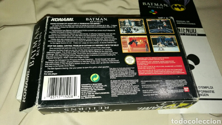Videojuegos y Consolas: Batman returns para super Nintendo snes con caja . Original konami - Foto 3 - 76090850